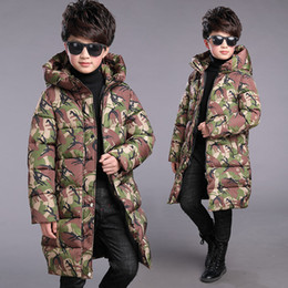 Camouflage Jacket Kids Australia - Kids Boys Winter Coat Size 4 6 8 10 12 to 14 Years Camouflage Print New Cotton-padded Jacket Boys Hooded Thicken Long Coat 5R25A