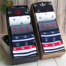 Sock Packs Australia - 5 pairs Men's socks box-packed Breathable sweat suction anchor head fashion gift box casual Style Socks