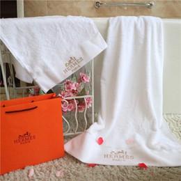 Adult bAth towel sets online shopping - Classic Embroidery Top Grade Towel Pieces Set Cotton H Letter Brand Design Bath Towel Skin Friendly Soft White Body Towel