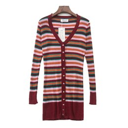 a71972ed2f6 Women Sweater stripe Slim Long Knitted Cardigan European American Style  Fashion Color Stripe Stitching Sexy V Neck Knit Cardigan