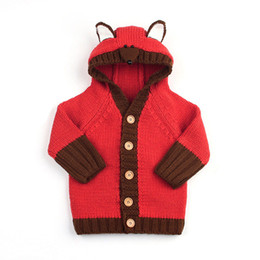 hooded cardigan ears UK - Encontrar Girls Boys Fox Head Hooded Sweater Coat Newborn Warm Winter Clothes Baby Ear Decoration Cardigan Jacket 6M-24M,DC512