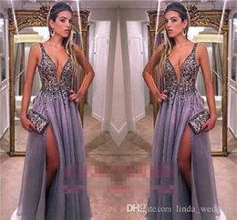 Holiday Evening Gowns Floor Length Australia - 2018 Spaghetti Straps Evening Dress Beaded Long Split Formal Holiday Wear Prom Party Gown Custom Made Plus Size