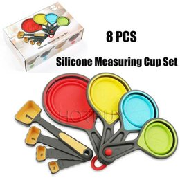 New Cooking Gadgets Australia - 8 PCS Silicone Colorful Collapsible Measuring Cups Spoons Kitchen Tool Cream Cooking Gadget New #4439