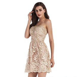 $enCountryForm.capitalKeyWord UK - Elegant Strapless Short Prom Dress Gold Embroidery Floral A-Line Party Evening Dresses Girls Graduation Princess Dresses