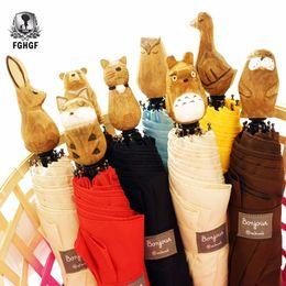 kids cartoon umbrella 2019 - FGHGF funny cartoon animal wooden handle folding umbrella girl kid child rabbit bear duck female sunny parasol Cute Para