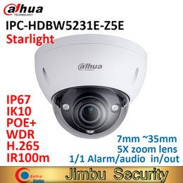 2mp Ip Camera Dome Dahua Australia - Dahua IP Dome camera IPC-HDBW5231E-Z5E starlight 2MP POE+ WDR IR100m 7mm ~35mm 5Xzoom lens IP67 IK10 Alarm in out audio in out