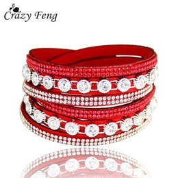 multiple women bracelet Canada - Fashion Crystal Leather Bracelets for Woman Female Charm Multiple Layers Bracelet & Bangles Statement Jewelry Party 2018 Gift