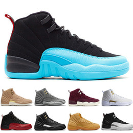 boxing games 2019 - Cheap New 12 mens basketball shoes Wheat Dark Grey Bordeaux Flu Game The Master Taxi Playoffs French Blue Barons PSNY Pu