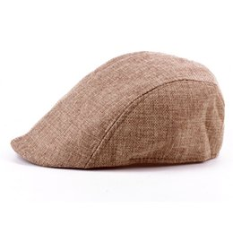 fd0fd6a7 Summer Peaked Beret Hat Men Newsboy Visor Hats Caps Golf Driving Cabbie  Beret Gatsby Flat Cap Flax Hat Men Trend Knit Wool Hat Aged Cap