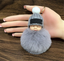 New 13 colors Cute Sleeping Baby Doll Keychain Pompom Rabbit Fur Ball Key Chain Car Keyring Women Key Holder Bag Pendant Charm Accessories from leather bucket shoulder bags women suppliers