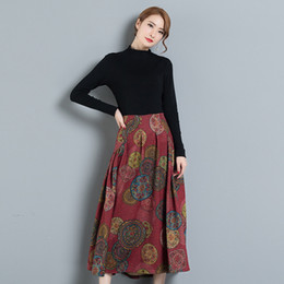 8abebf47986c4 Vintage Ethnic Women Long Skirt Vintage Print High Waist Zipper A-Line  Pleated Casual Tribal Maxi Skirts Faldas Saia Plus Size