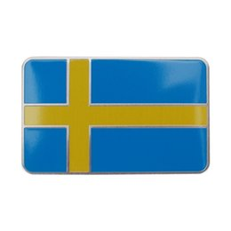 Wholesale 1pc Sweden Car National Flag Sticker Rectangle Cool Car Body Tuning Metal Sticker Aluminum Alloy Brushed Finish