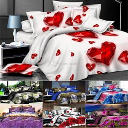 christmas bedding luxury 2019 - 3D Printed Bedding Sets 4pcs set Luxury Rose Pattern Duvet Cover Pillowcases Home Bedding Supplies Christmas Gift 27 Sty