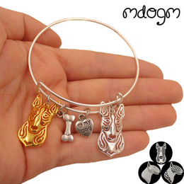 Discount bracelets cute animal - 3 Styles New Fashion Animal Bracelet Bangles Bull Terrier Dog Love Alloy Metal Men Women Cute Fashion Male Female Girls
