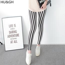 bf7b5d690d047 Black White Vertical Striped Leggings Canada - HU&GH Black and White  Vertical Striped Printed Women Leggings