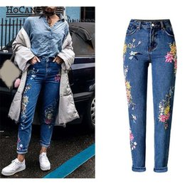 Qpfjqd Mori Girl Style 2019 Women Stretch Elastic Waist Blue Jeans Female Denim Embroidery Pants Trousers Patchwork Plus Size Last Style Women's Clothing