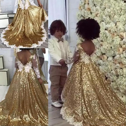 White floWer girl dresse online shopping - 2019 Gold Sequins A Line Flower Girls Dresses V Neck Long Sleeves Lace Applique Bow Sash A Line Birthday Girls Pageant Dresse BC0361s