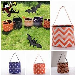 Stripe Halloween Buckets Bag 6 Estilos Halloween Tote Bag Truco o Invitación Candy Gift Bag Party Decoration 120pcs OOA5580