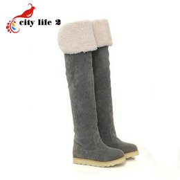 07cafbb8a7f Wholesale- 2016 Hot Sale Fashion Flat Snow Boots Women s Over-The-Knee Boot  Cotton Warm Shoes Size 34-40 Winter Botas Feminina
