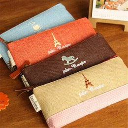 Vintage Towers Linen Pen Pencil Bag Pencil Case Carino Mini Storage Organizer Studenti Cancelleria Forniture scolastiche