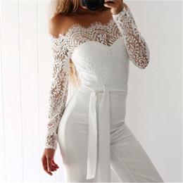 plus mesh jumpsuit 2019 - Women Sexy Off Shoulder Long Mesh Sleeve Trousers Jumpsuits Plus Size White Lace Playsuit Jumpsuit cx cheap plus mesh ju
