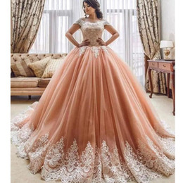 prom dress pink fluffy NZ - Glamorous Arabia Princess Quinceanera Dress Off Shoulder Lace Appliqued Short Sleeve Evening Gown Custom Made Fluffy Tulle Prom Party Dress