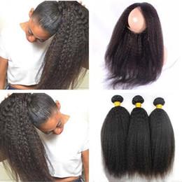 $enCountryForm.capitalKeyWord Canada - Kinky straight 360 Lace Frontal With Bundles Mongolian Italian Coarse Yaki Human Hair Wefts With 360 Full Lace Band Frontal Closure