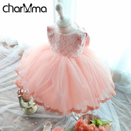 elegant kids clothes Canada - 2017 Summer Elegant Girl Dress Pink Lace Big Bow Party Tulle Flower Girls Princess Wedding Dresses Baby Girl Dress Kids Clothes