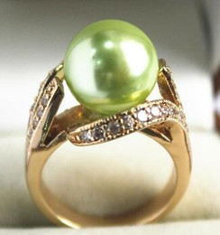 $enCountryForm.capitalKeyWord Australia - Free Shipping beautiful new jewelry 18KGP with crystal decorated &12mm light green shell pearl ring(#7.8.9)