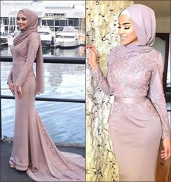$enCountryForm.capitalKeyWord Australia - New Dusty Pink Muslim Evening Dresses Hijab High Neck Long Sleeve Appliques 2018 Celebrity Gowns Mermaid Prom Dresses BA8911