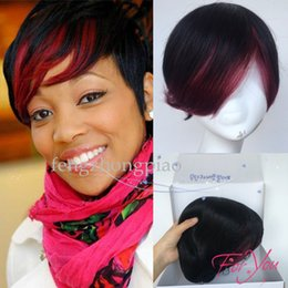Straight half wig priceS online shopping - Newstyle Mix Red Black Half Price Pixie cut Short bob human hair wigs with bangs inch Brazilian full wigs for black women