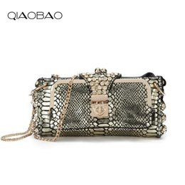 Genuine Snake Leather Bags NZ - QIAOBAO 100% Genuine Leather Natural Snake Leather Bags Shoulder Day Clutch Bags Evening Snakeskin Bag