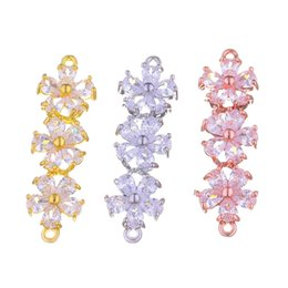 $enCountryForm.capitalKeyWord UK - Wholesale Handmade Bracelet Necklace Earrings DIY Accessories Luxury Zircon Crystal Clover Double Hole Charms Pendant Flower Connector Clasp