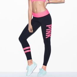Pink Letter Mujeres Leggings Yoga gimnasio Fitness Deportes pantalones  bodycon Medias de rayas pantalones ajustados Pantalones Capris Pink White  Sweatpants 9840ed19d9ae