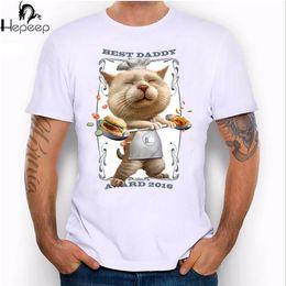 Best Fashion T Shirts Canada - Best daddy award 2016 design super cool men T-shirt funny cat cartoon short sleeve fashion gift tee shirt hipster male tops