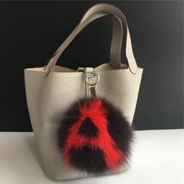 "$enCountryForm.capitalKeyWord Canada - Coffee red -6"" Large Soft Real Fox Fur Pom Pom Ball Initial Letter""A"" ABcharm Bag Charm Keyring(color an custom)"