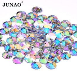 JUNAO 10mm Sewing Crystal AB Rhinestones Appliques Flatback Acrylic  Crystals Stones Sew On Round Scrapbook Beads For DIY Dress 9e7db23630f2