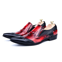 Red Leather Dresses Australia - Fashion Red Black Patchwork Genuine Leather Italian Men Shoes Slip on Business Wedding Men Dress Shoes Plus Size