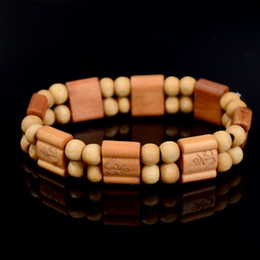 Decor Ornament Australia - Decor square Prayer beads Natural Handmade Bracelet Bangle Wrist Ornament Wood Buddha Beads Women Men Jewelry