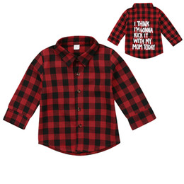 71520463065 Red Plaid Fashion Toddler Kids Boy Girl Long Sleeve Back Letter Print Check  Blusa T-shirt Tee Tops Clothes 2-7Y