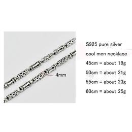 Discount 925 sterling silver mens - whole saleV.YA 100% Sterling Silver Mens Chains S925 Silver 4MM Bamboo Chain Men Necklace 925 Sterling Necklace Men Jewe
