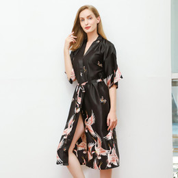 classic sleepwear UK - Classic Printed Women Sleepwear Sexy Satin Long Robe Kimono Bathrobe Gowns Home Dress Nightwear Casual Robes Black Nightgown 3XL