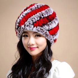 Donna100% Genuine Rex Rabbit Rabbit Hat New Casual Style Thread copricapo Inverno Best Fashion Pellicce ragazze True Fur Hats