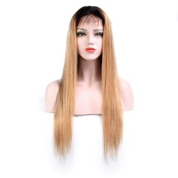 blonde human lace fronts UK - ZhiFan half hand hook straight hair 100% human hair black ombre blonde long straight lace front wigs for women