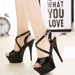 c041b0977f31 Platfrom Sandals Women Summer Shoes 15cm High Heels Stripper Gladiator Black  White Red Cross Buckle Strap Sexy Ladies Shoes