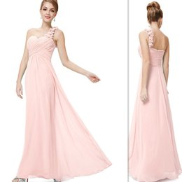Chinese  2019 Light Pink Bridesmaid Dresses One Shoulder A-line Chiffon Long Floor Length Simple Cheap Maid Of Honor Wedding Party Gowns Custom Made manufacturers
