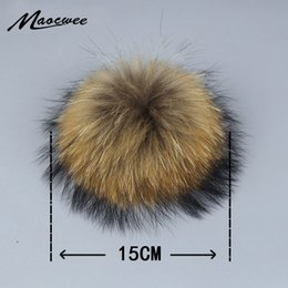 fox fur raccoon scarf 2019 - Real Natural Raccoon Fox Fur Pompoms Fur Balls For Knitted Hat Cap Beanies Skullies and Keychain and Scarves Real Pom po