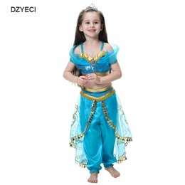 China Carnival Halloween Costume For Teen Girl Lace Outfit Aladdin Jasmine Party Princess Tracksuit Kid Up Top+TUTU Pant 2PC Set Children Suit suppliers