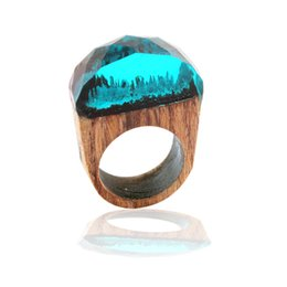 China whole saleFashion Women Resin Wood Rings Magic Forest Wooden Ring Men Jewelry Handmade undersea Blue Miniature World Inside Ring supplier forest ring suppliers