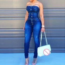 blue jumpsuit for plus women NZ - Sexy Button Up Off Shoulder Denim Overalls Skinny Jumpsuits For Women 2018 Plus Size Playsuit Casual One Piece Jumpsuit Jeans